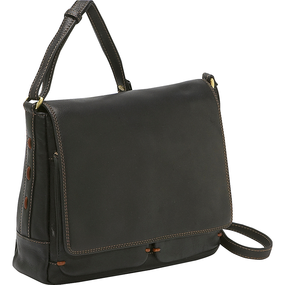 Derek Alexander Medium 3/4 Flap Handbag - BLACK/TAN - Handbags, Leather Handbags