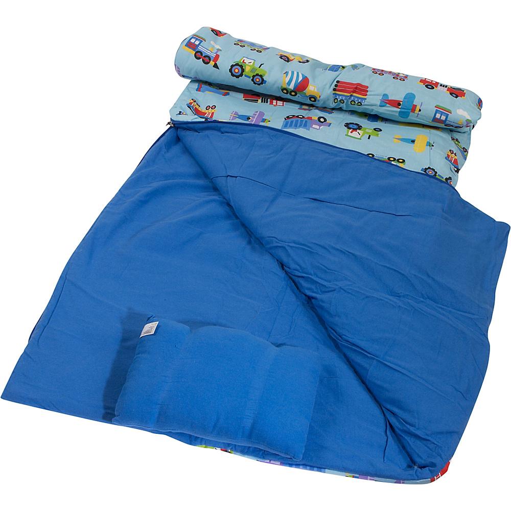 Wildkin Kids Sleeping Bag w/Travel Pillow Trains Planes Trucks - Wildkin Travel Pillows & Blankets