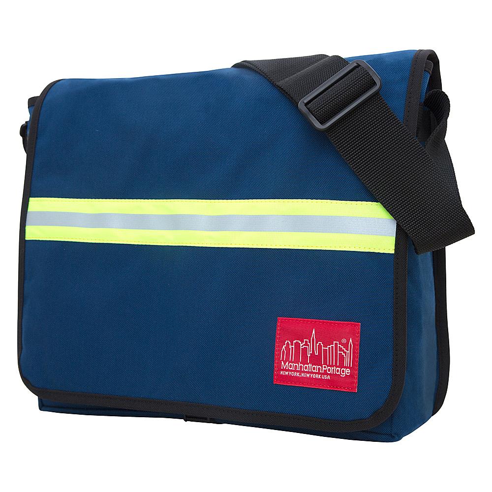 Manhattan Portage Large DJ Bag with Reflective Stripe Navy - Manhattan Portage Messenger Bags - Work Bags & Briefcases, Messenger Bags