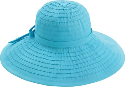 San Diego Hat Ribbon Hat With Large Brim And Bow - Aqua