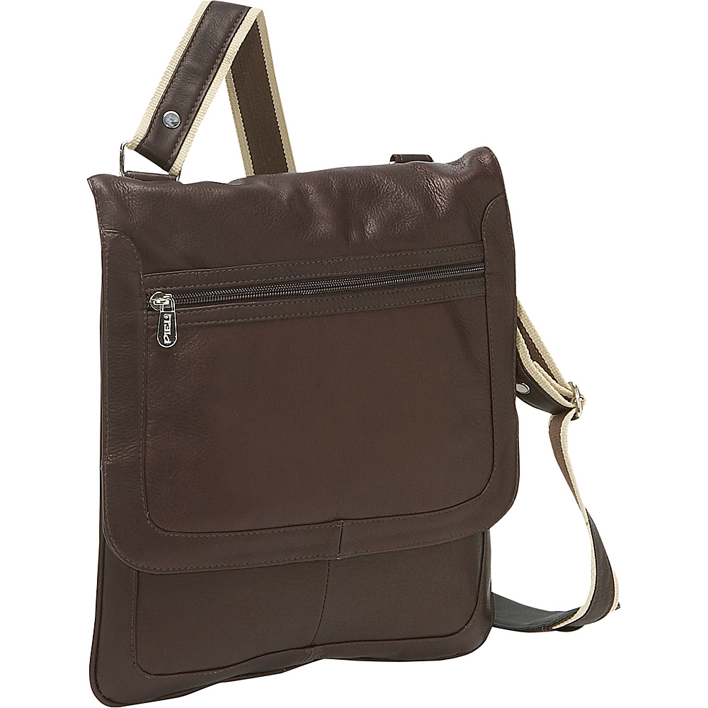 Piel Small Vertical Messenger - Chocolate - Work Bags & Briefcases, Other Men's Bags