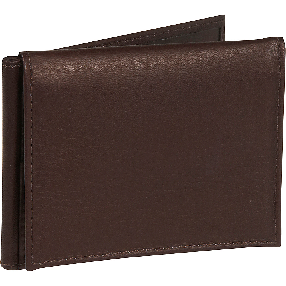 Piel Bi-fold Clip w/ID Window - Chocolate - Work Bags & Briefcases, Men's Wallets