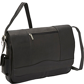 3/4 Flap Laptop Messenger Black