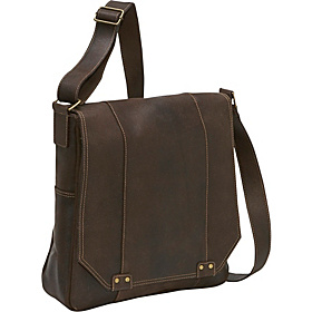 Distressed Leather Vertical Messenger Chocolate