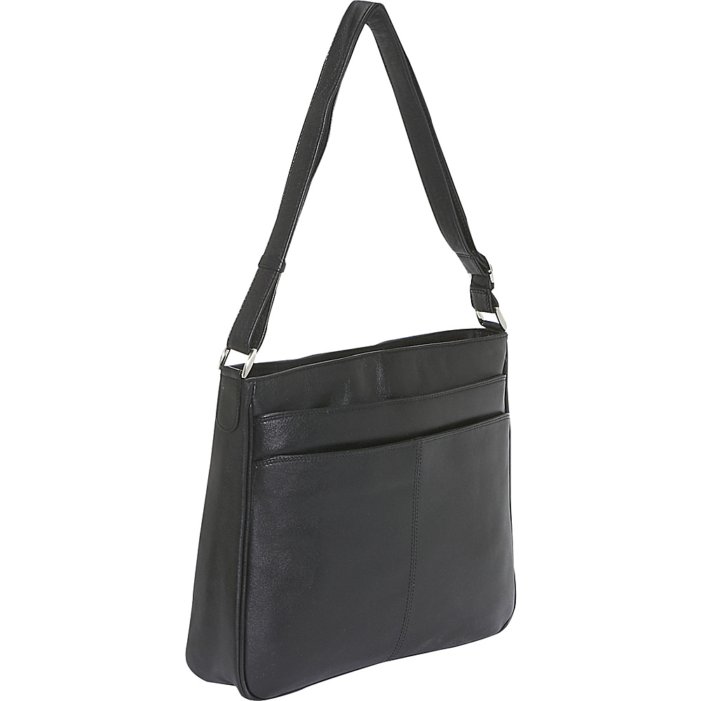 Derek Alexander Top Zip Multi Comp - Black - Handbags, Leather Handbags