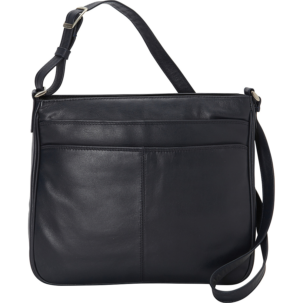 Derek Alexander Top Zip Multi Comp - Navy - Handbags, Leather Handbags