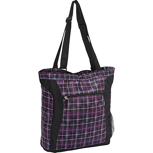 Everest Deluxe Utility Laptop Tote Purple/Black Plaid - Everest Ladies' Business