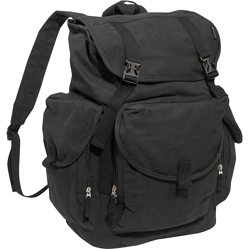 Everest Large Cotton Canvas Backpack - Black - Backpacks, Everyday Backpacks