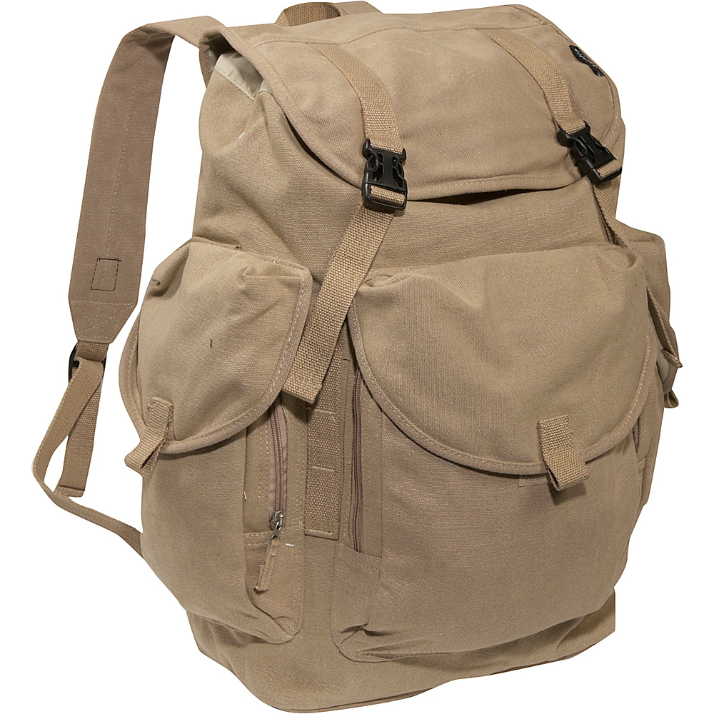Everest Large Cotton Canvas Backpack - Khaki - Backpacks, Everyday Backpacks