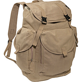 Large Cotton Canvas Backpack Khaki