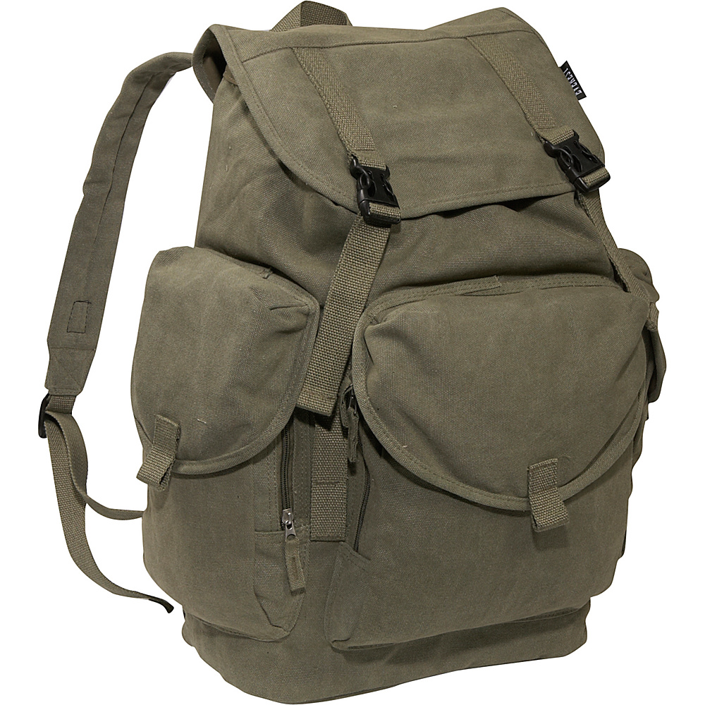Everest Large Cotton Canvas Backpack - Olive - Backpacks, Everyday Backpacks