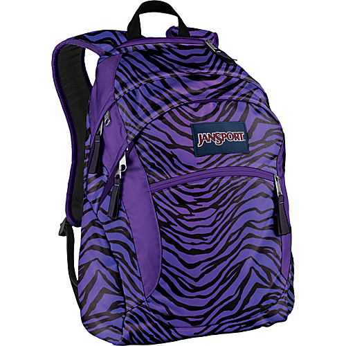 JanSport Wasabi Backpack Black/Prism Purple Flashback Zebra - Backpacks, Laptop Backpacks