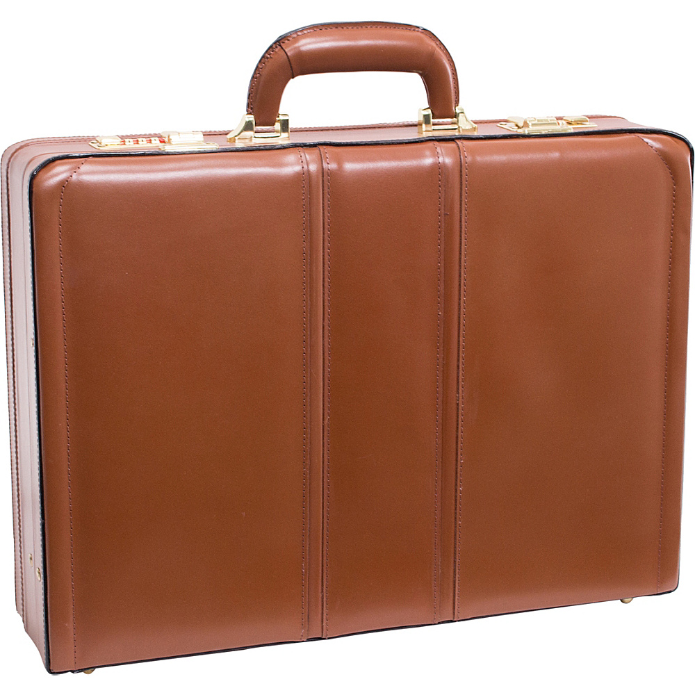 McKlein USA Coughlin Leather Expandable Attache Case Brown - McKlein USA Non-Wheeled Business Cases - Work Bags & Briefcases, Non-Wheeled Business Cases