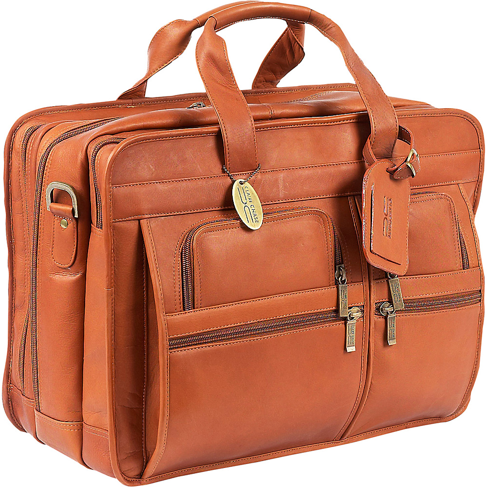 ClaireChase Jumbo Executive Laptop Briefcase - Saddle - Work Bags & Briefcases, Non-Wheeled Business Cases