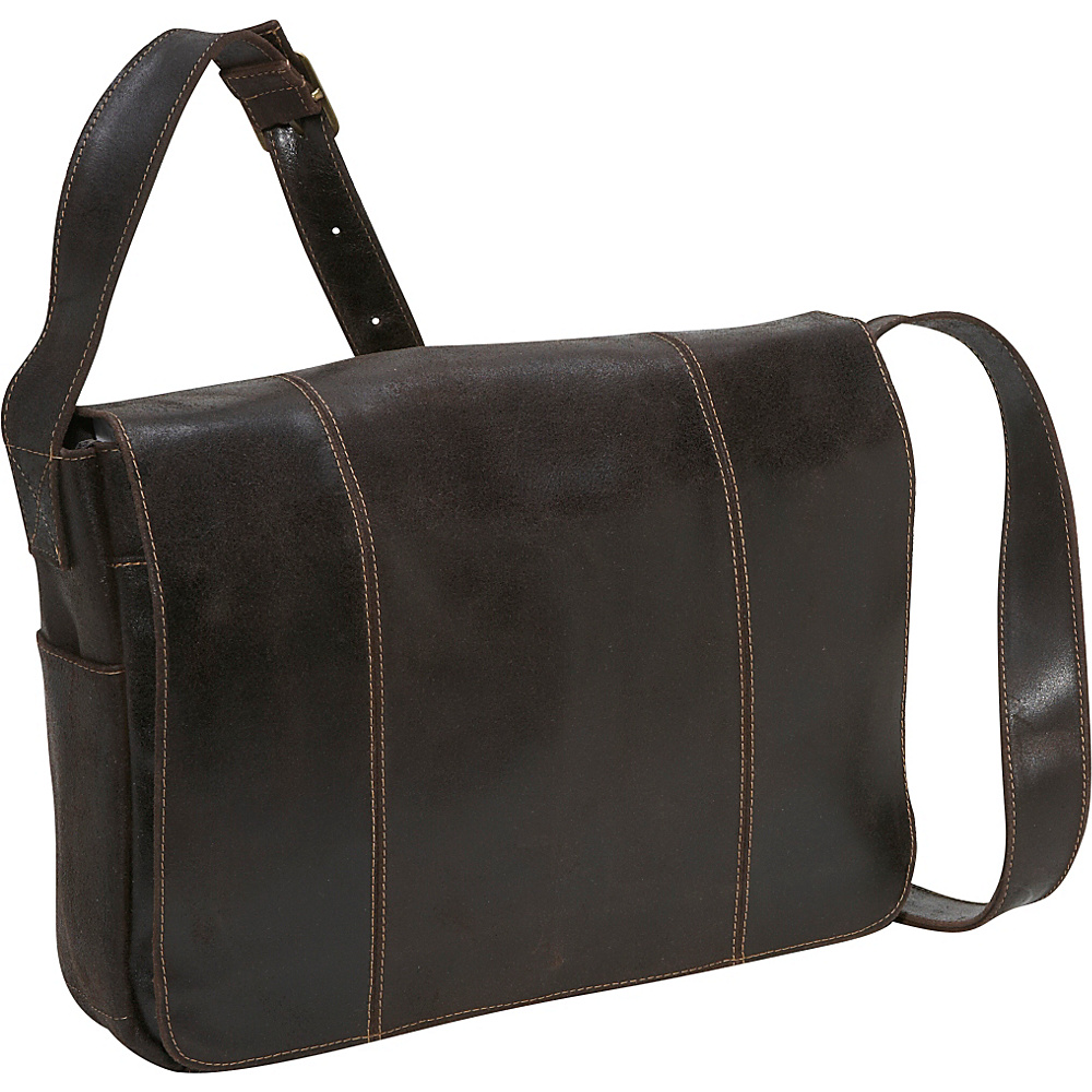 Le Donne Leather Distressed Leather Laptop Messenger - - Work Bags & Briefcases, Messenger Bags