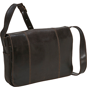 Distressed Leather Laptop Messenger Chocolate