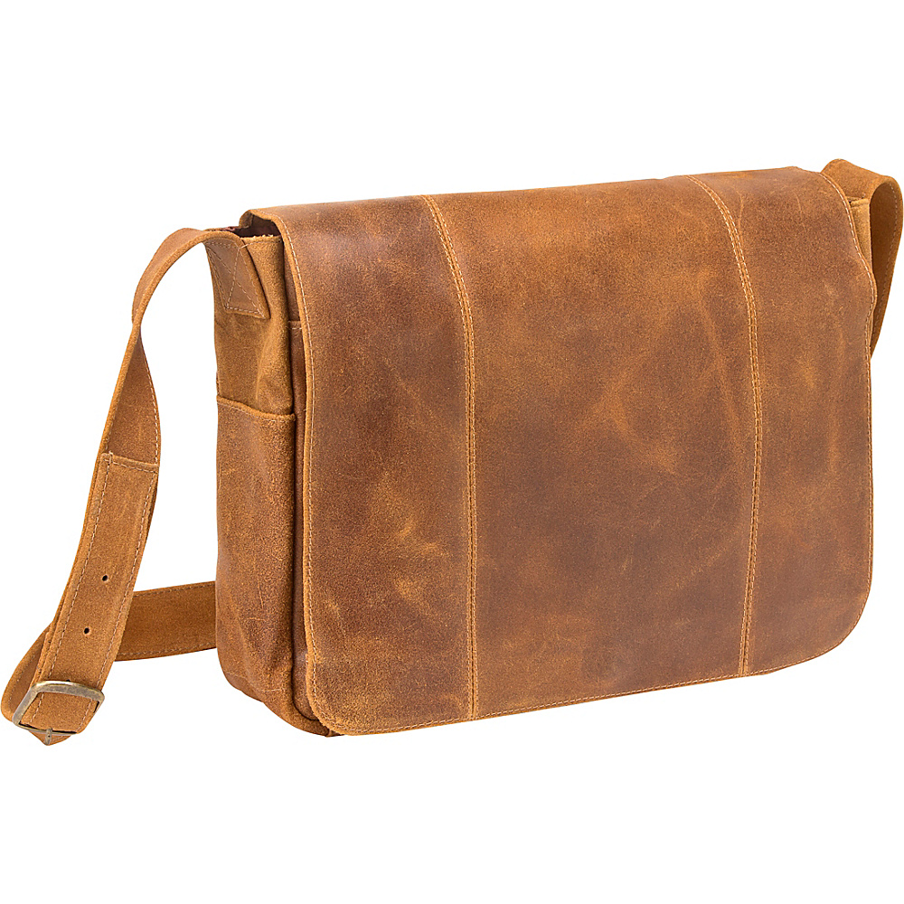 Le Donne Leather Distressed Leather Laptop Messenger Tan - Le Donne Leather Messenger Bags - Work Bags & Briefcases, Messenger Bags