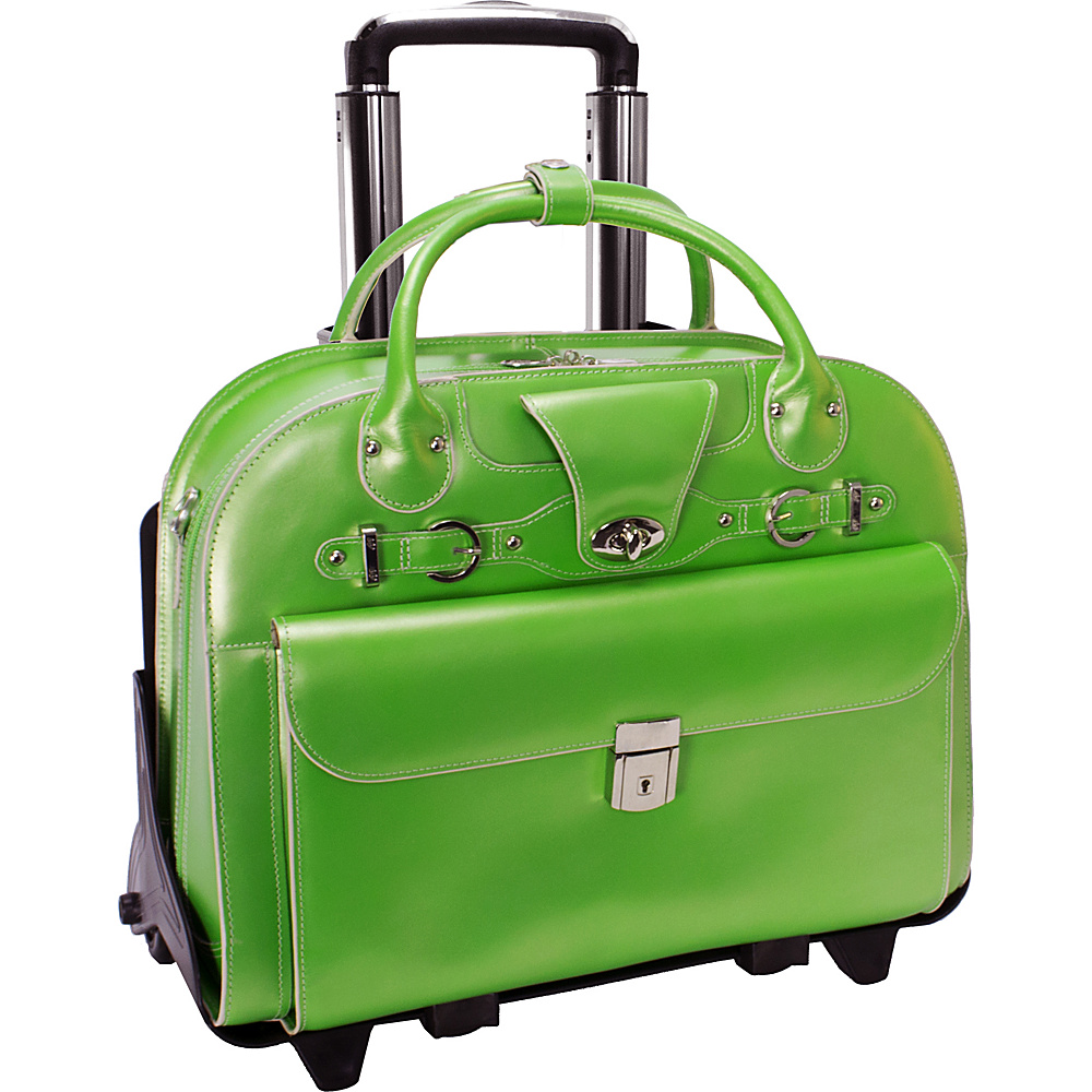 McKlein USA Roseville 15 Fly-Through Checkpoint-Friendly Removable Rolling Ladies Laptop Case Green - McKlein USA Wheeled Business Cases - Work Bags & Briefcases, Wheeled Business Cases
