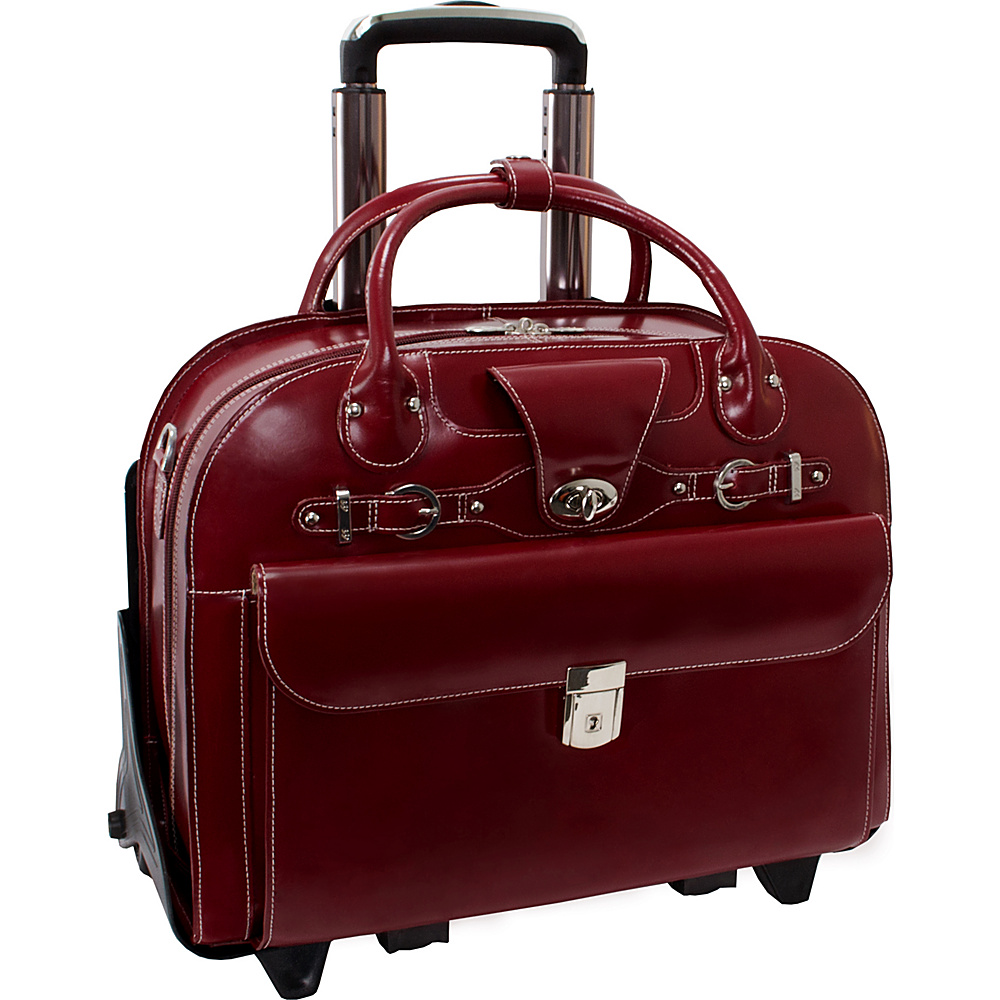 McKlein USA Roseville 15 Fly-Through Checkpoint-Friendly Removable Rolling Ladies Laptop Case Red - McKlein USA Wheeled Business Cases - Work Bags & Briefcases, Wheeled Business Cases