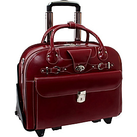 Roseville - Fly-Through Checkpoint-Friendly Removable Rolling Ladies' Laptop Case Red
