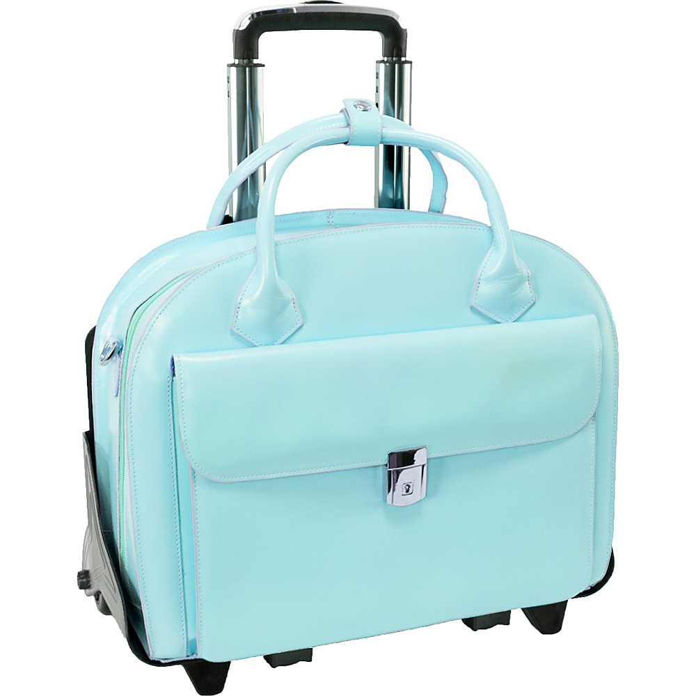 McKlein USA Roseville 15 Fly-Through Checkpoint-Friendly Removable Rolling Ladies Laptop Case Aqua Blue - McKlein USA Wheeled Business Cases - Work Bags & Briefcases, Wheeled Business Cases