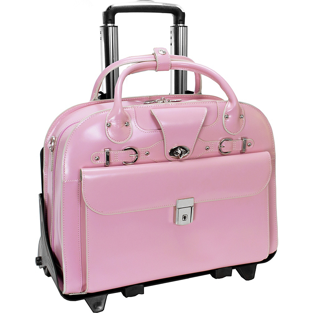 McKlein USA Roseville 15 Fly-Through Checkpoint-Friendly Removable Rolling Ladies Laptop Case Pink - McKlein USA Wheeled Business Cases - Work Bags & Briefcases, Wheeled Business Cases
