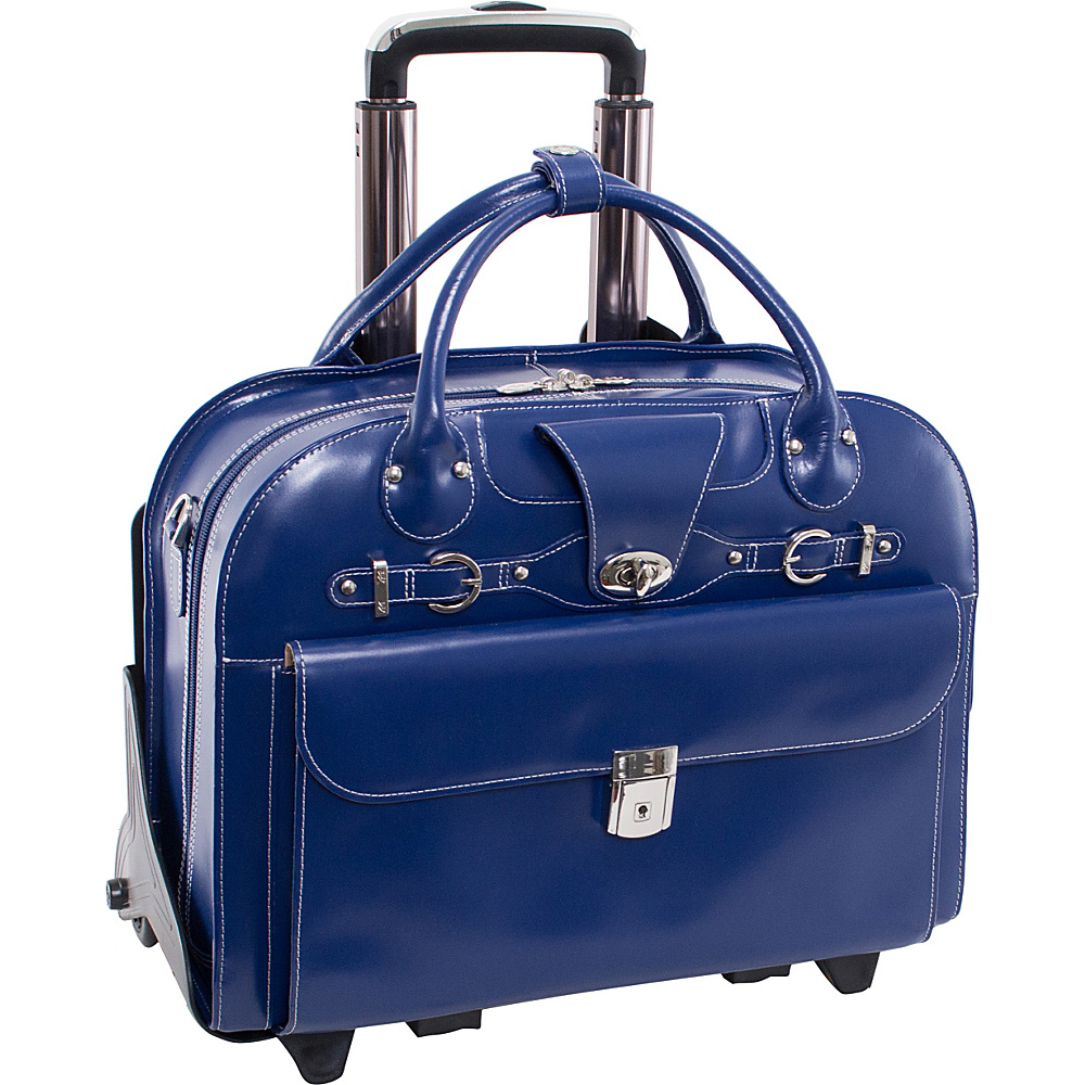 McKlein USA Roseville 15 Fly Through Checkpoint Friendly Removable Rolling Ladies Laptop Case Navy McKlein USA Wheeled Business Cases