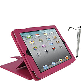 3-in-1 Kit - Convertible Leather Folio for iPad Gens 2, 3 & 4 Magenta