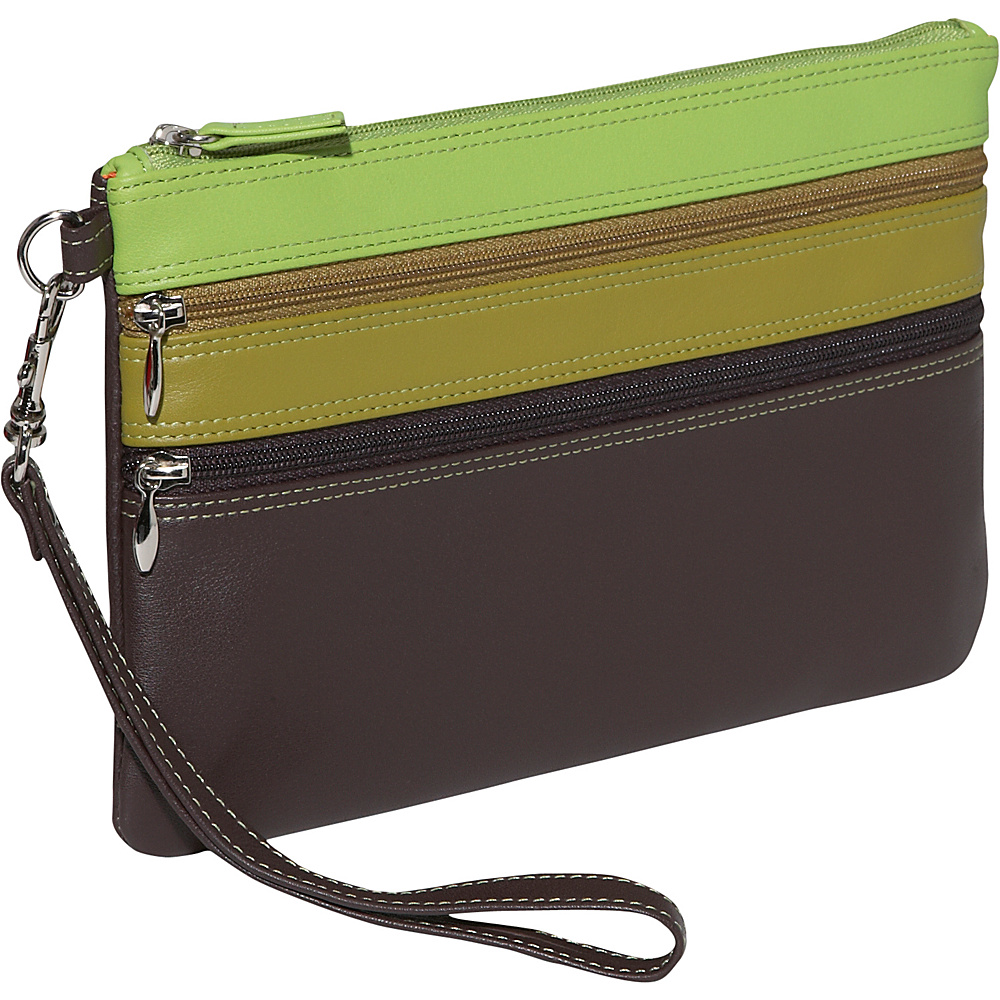 BelArno Large Trizip Multi Color Clutch in Black