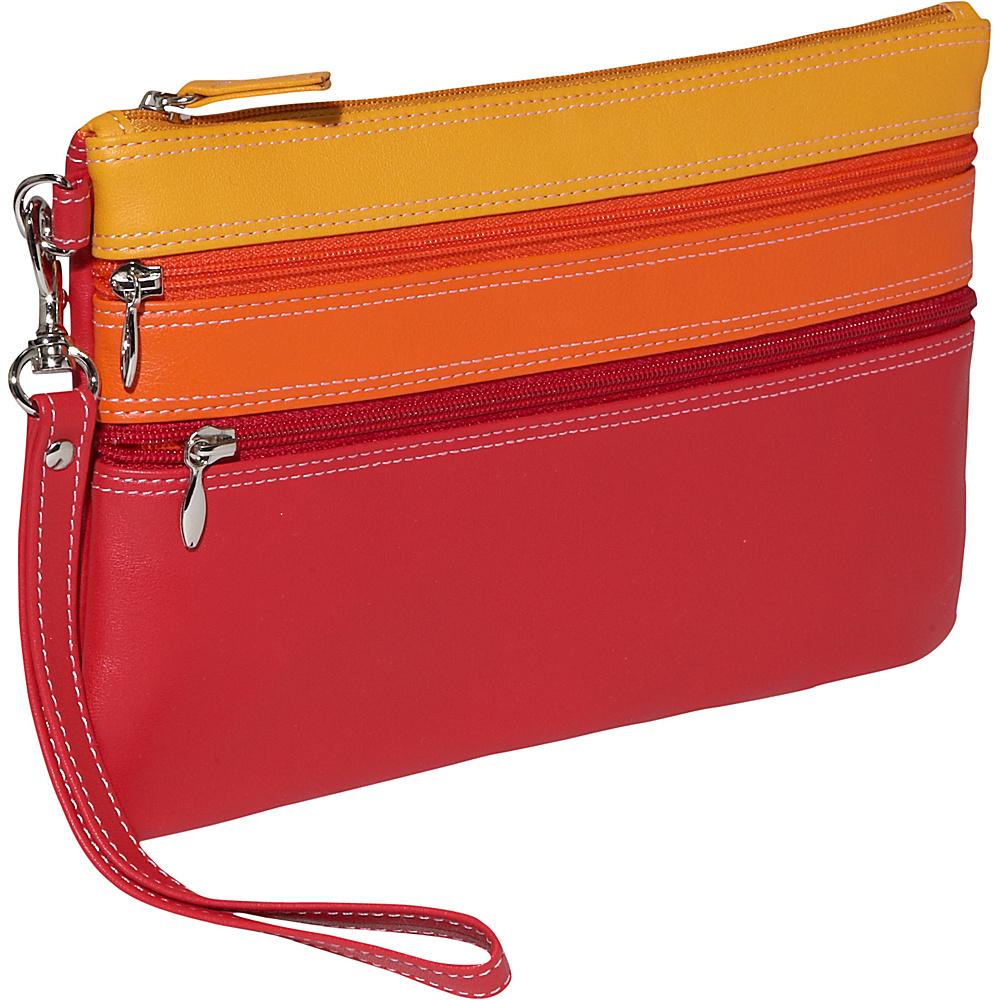 BelArno Large Trizip Multi Color Clutch in Black - Women's SLG, Women's Wallets