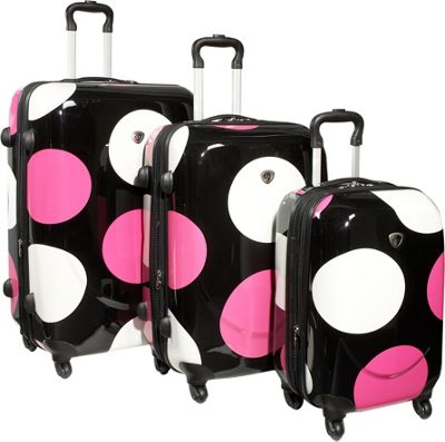 IT Luggage Shiny Large Dots 4-Wheeled 3 Piece Luggage