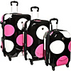 IT Luggage Shiny Large Dots 4-Wheeled 3 Piece Luggage Set