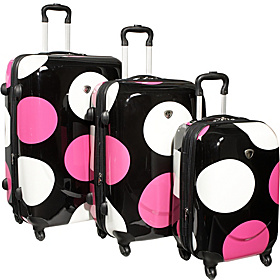 Shiny Large Dots 4-Wheeled 3 Piece Luggage Set Black w/ White & Fuchsia Dots