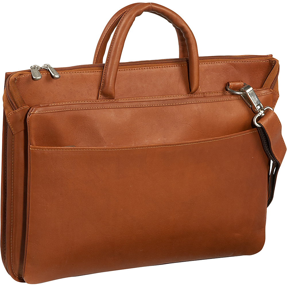Piel Expandable Brief - Saddle - Work Bags & Briefcases, Non-Wheeled Business Cases