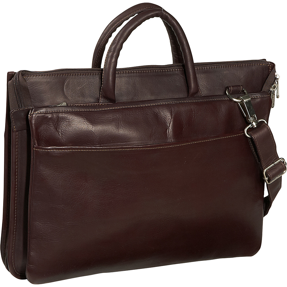 Piel Expandable Brief - Chocolate - Work Bags & Briefcases, Non-Wheeled Business Cases