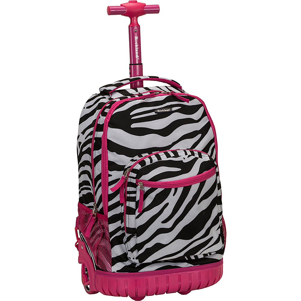 Rockland Luggage Sedan 19 Rolling Backpack Pink Zebra Rockland Luggage Rolling Backpacks