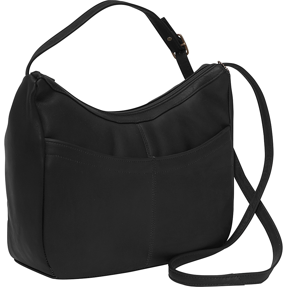 David King & Co. Top Zip Hobo With Front Open pocket Black - David King & Co. Leather Handbags - Handbags, Leather Handbags
