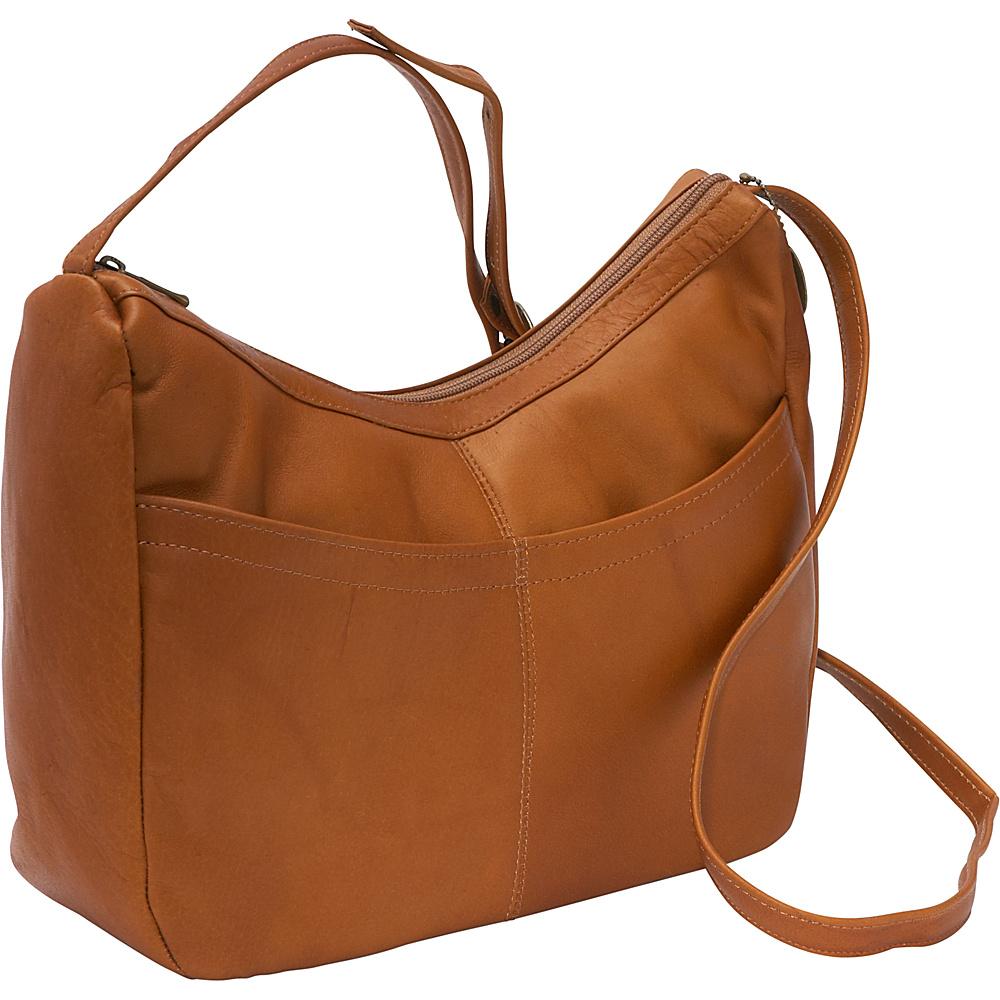 David King & Co. Top Zip Hobo With Front Open pocket Tan - David King & Co. Leather Handbags - Handbags, Leather Handbags