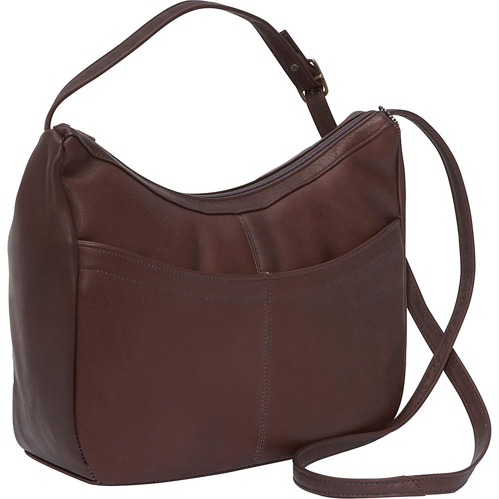 David King & Co. Top Zip Hobo With Front Open pocket Cafe - David King & Co. Leather Handbags - Handbags, Leather Handbags