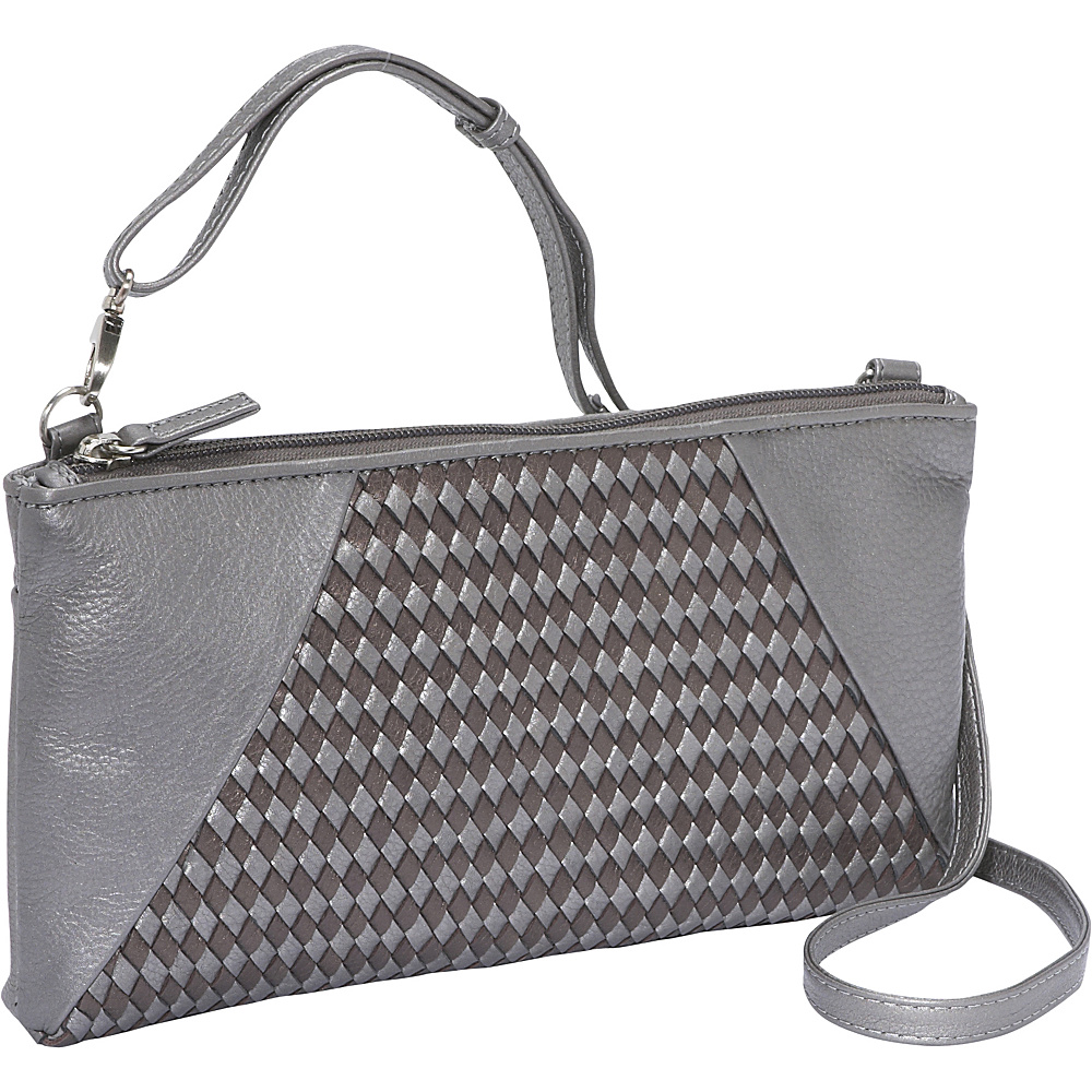 Derek Alexander EW Top Zip Clutch - Silver/Metallic - Handbags, Leather Handbags