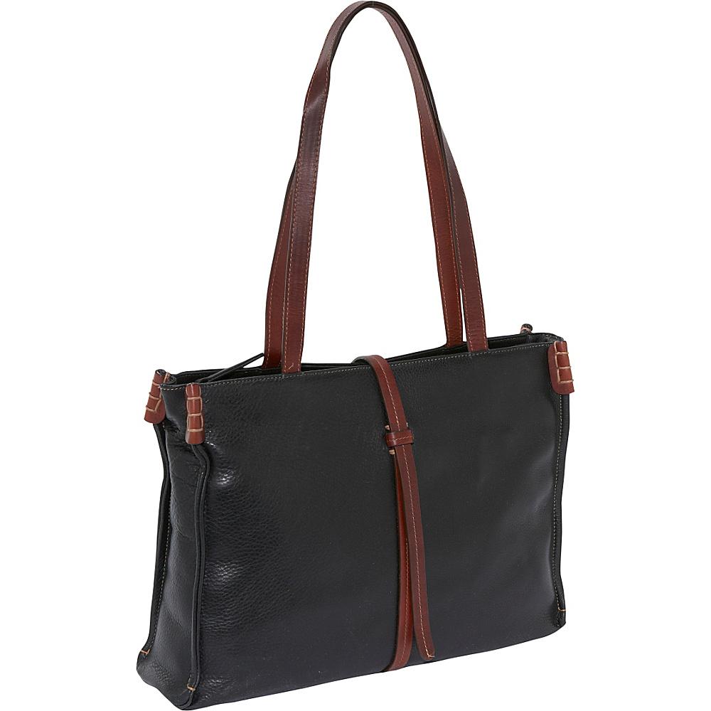 Derek Alexander EW Top Zip Tote - BLACK/BRANDY - Handbags, Leather Handbags