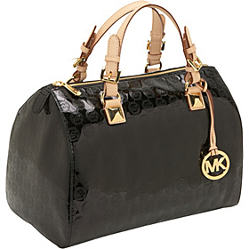 Grayson Monogram Mirror Metallic Large Satchel Black