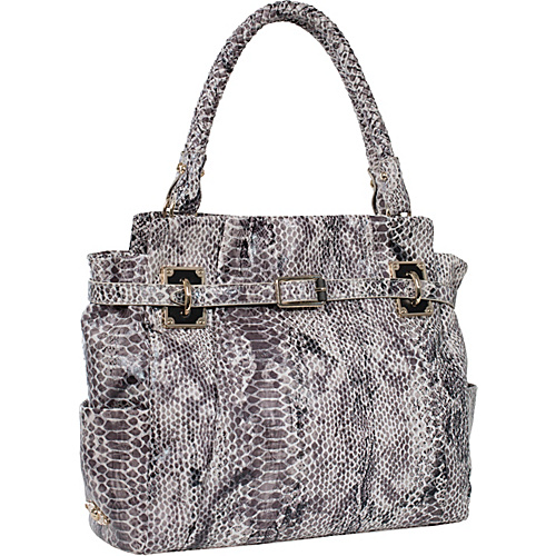 Elliott Lucca Cordoba Box Tote Black/White Embossed Snake - Elliott Lucca Leather Handbags