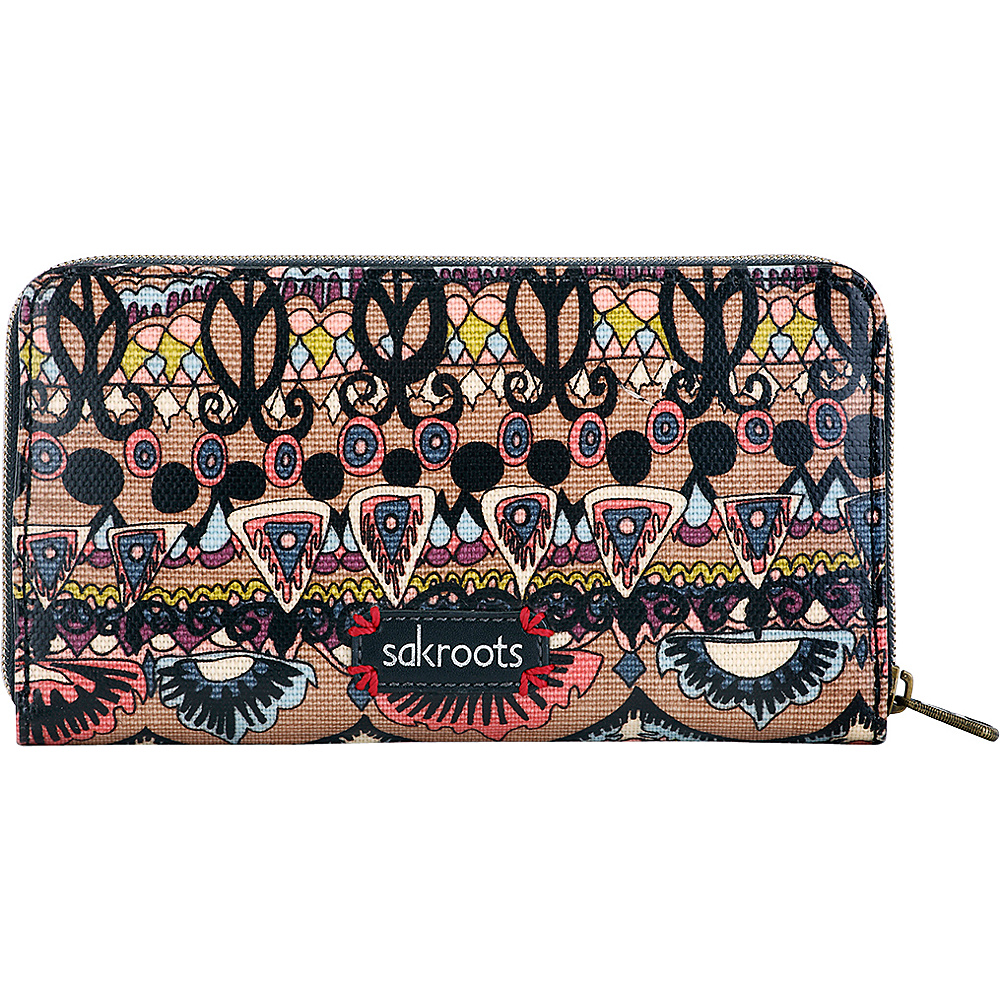 Sakroots Artist Circle Large Wallet Taupe One World - Sakroots Womens Wallets - Women's SLG, Women's Wallets
