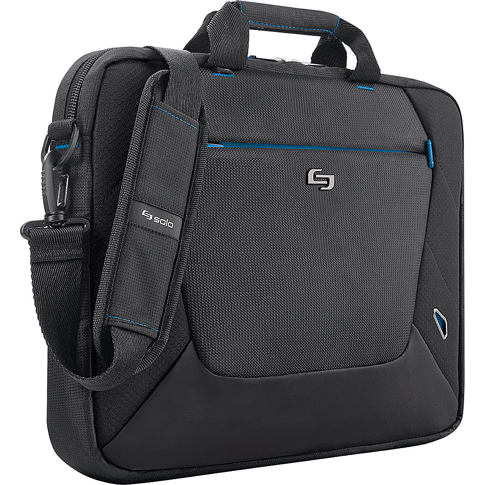 SOLO Tech - 16 Laptop Slim Brief - Black with Blue - Work Bags & Briefcases, Non-Wheeled Business Cases