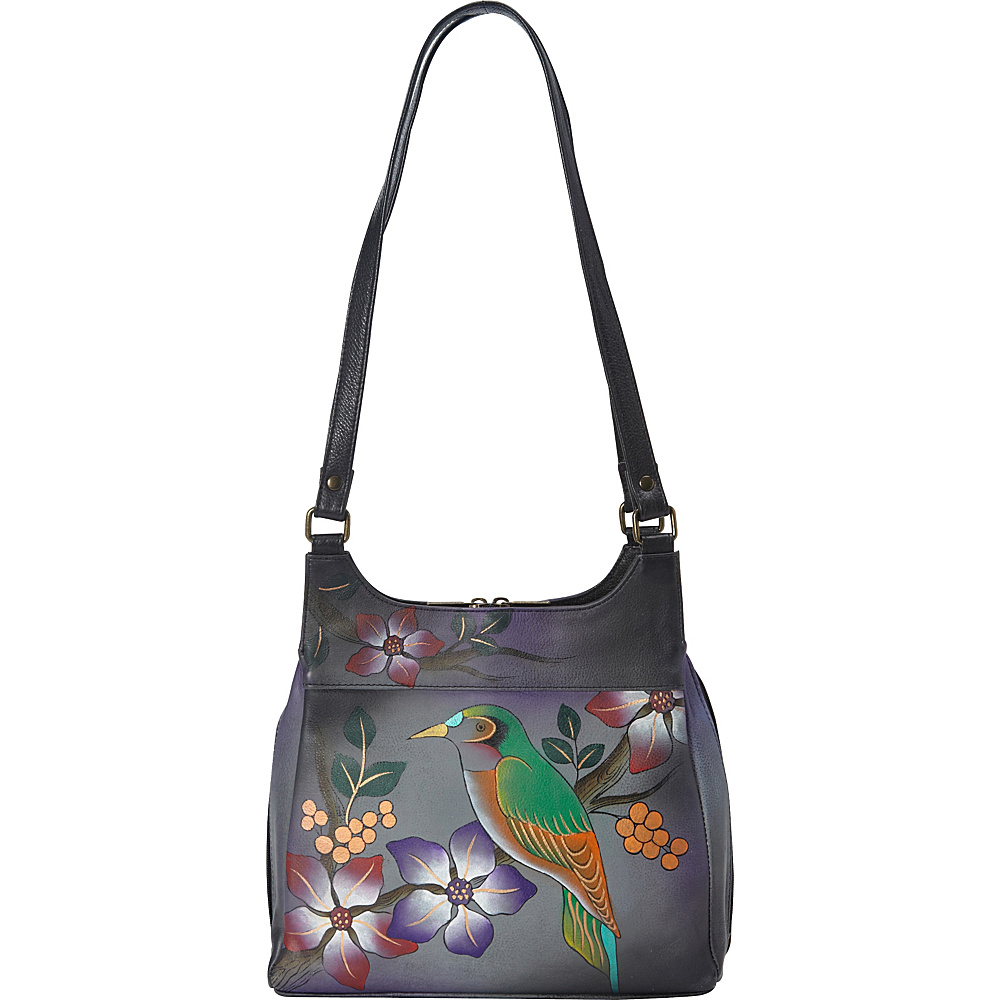 ANNA by Anuschka Medium Hobo Bird on Branch Grey ANNA by Anuschka Leather Handbags