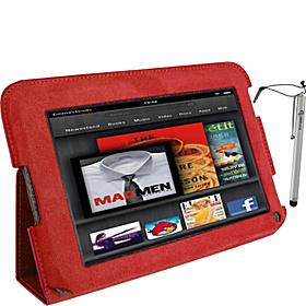 Ultra Slim Folio Leather Case & Stylus for Amazon Kindle Fire Tablet Red