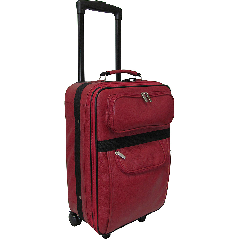 AmeriLeather Leather 20 Expandable Carry On Pullman Red - AmeriLeather Softside Carry-On - Luggage, Softside Carry-On