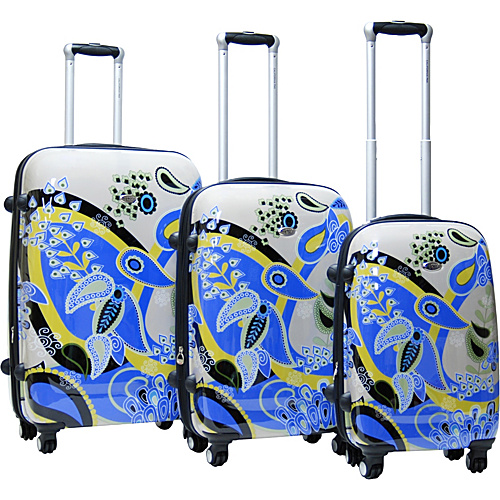 CalPak Woodstock 3 Piece Exp. Hardside Luggage Set Blue/Grey - CalPak Hardside Luggage