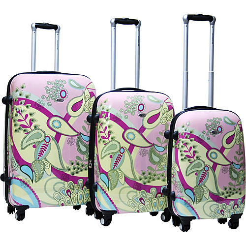 CalPak Woodstock 3 Piece Exp. Hardside Luggage Set Pink - CalPak Hardside Luggage